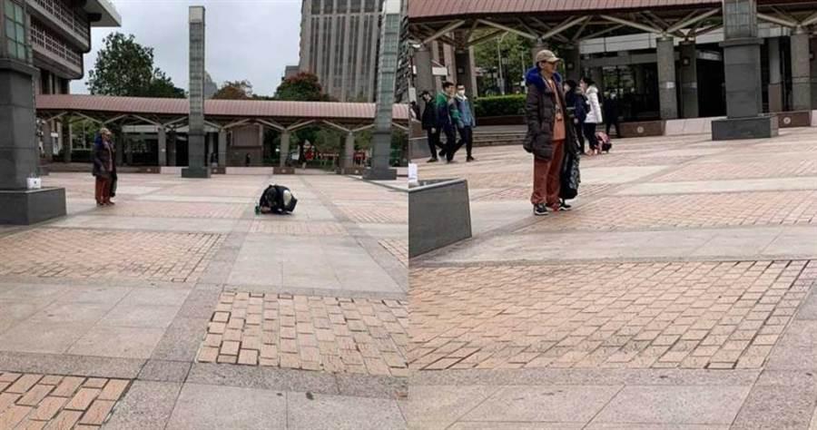 有网友爆料在台北车站看到,有一名女生以快趴地的姿势,帮男友拍照,结果发现是黄子佼与孟耿如这对情侣档。 (图/翻摄爆废公社)