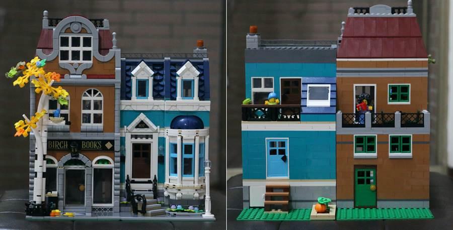 LEGO 10270 書店正面、反面。(黃慧雯攝)