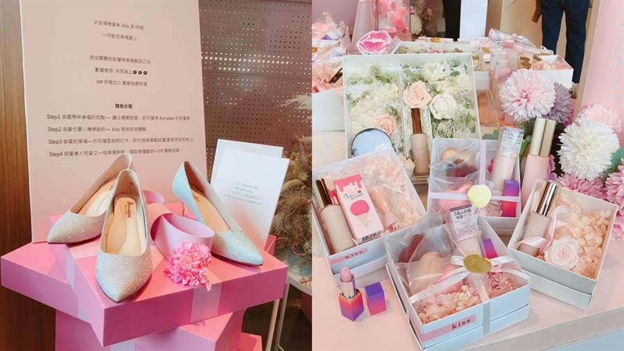 現場花藝是由Upandcoming花狂·狂花美術館完成,現場可看到的女鞋則是和Annalee合作,禮盒中的刷具是和台灣知名刷具品牌LSY林三益合作,糕點、餅乾則是和卡滋好時合作推出。(圖/邱映慈攝影)