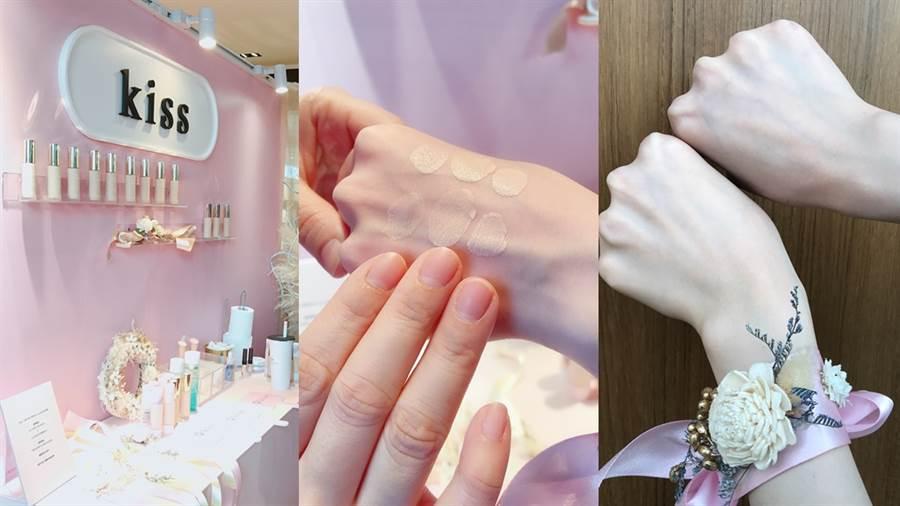 試妝區可體驗kiss底妝,彩妝師先用三指的指腹沾取等量粉底,於肌膚上均勻點開,再使用LSY林三益刷開,就能完成自然的戀愛系底妝。(圖/邱映慈攝影)