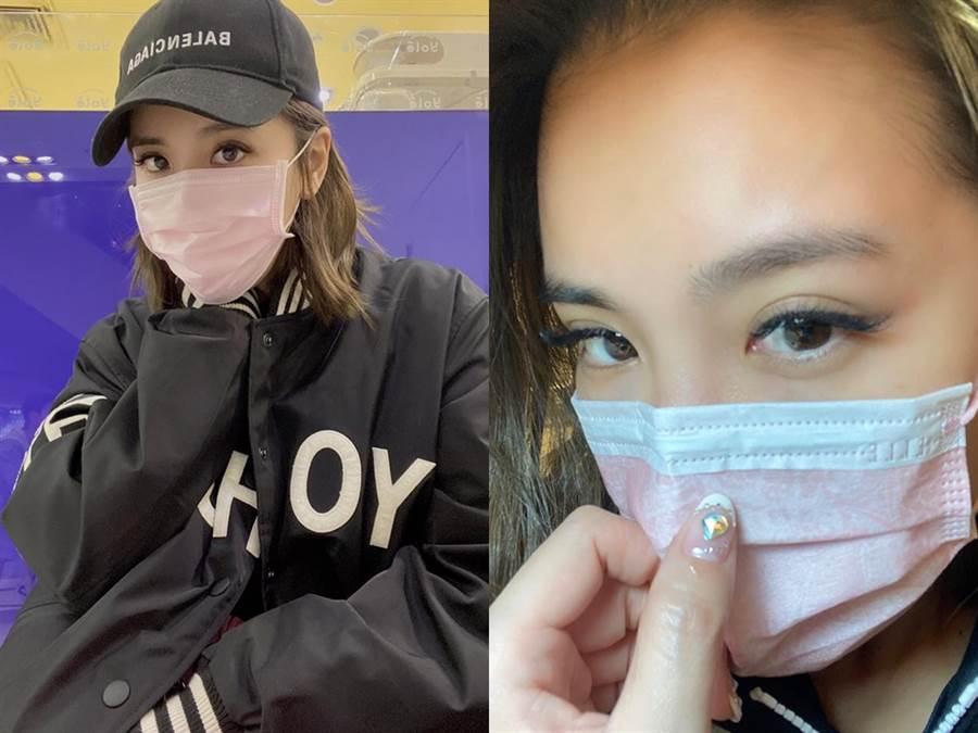 胡小禎的這兩張口罩look被網友認成蔡依林。(圖/IG@胡小禎)