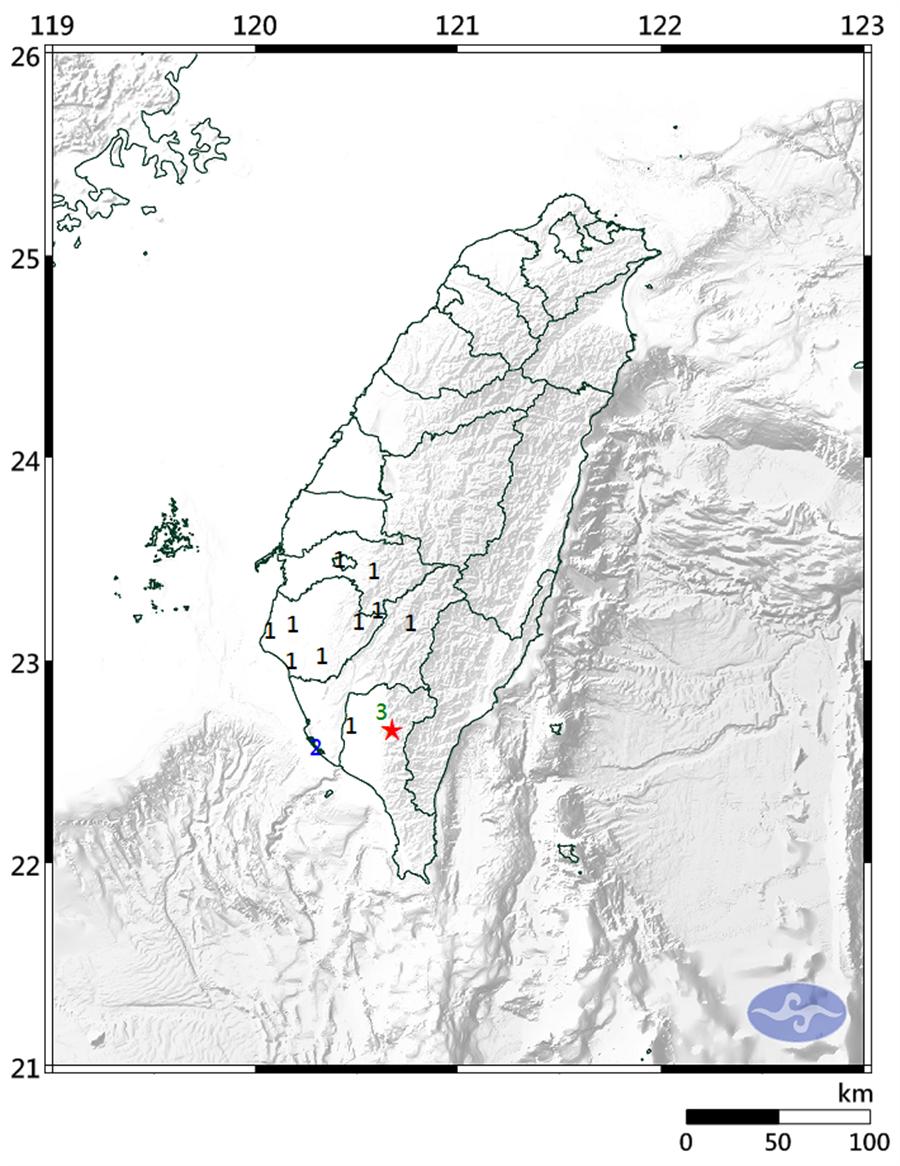 今日下午14時51分台北市士林區發生有感地震。(圖擷自氣象局)