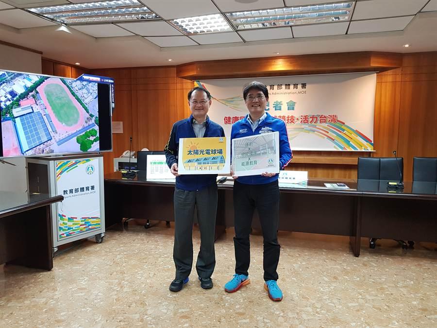 體育署署長高俊雄(右)表示,2月底UBA 8強賽也會比照HBL 8強賽,不開放觀眾進場。(陳筱琳攝)