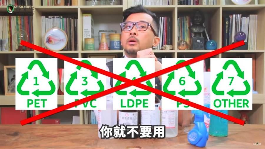 賽先生表示,最簡單的容器識別方式,就是看到<1><3><4><6><7>就不要使用。(摘自YouTube:Mr.Sci Science Factory賽先生科學工廠)
