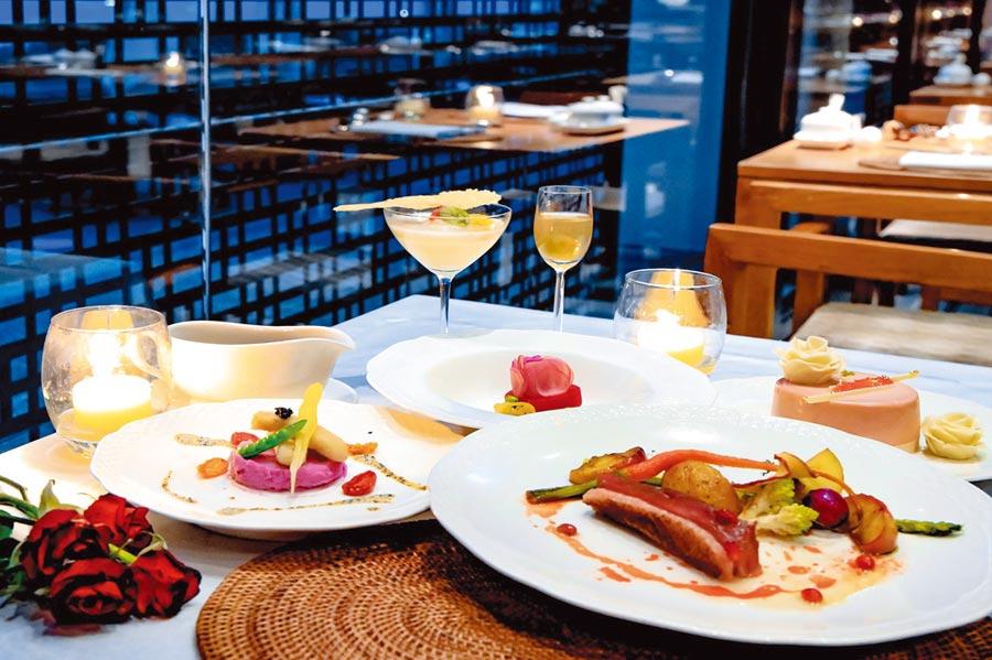 餐廳主廚精心挑選高級食材結合以水果熬煮的醬汁點綴,呈現繽紛色彩,情人節雙人套餐每套3,600元+10%。圖/涵碧樓提供