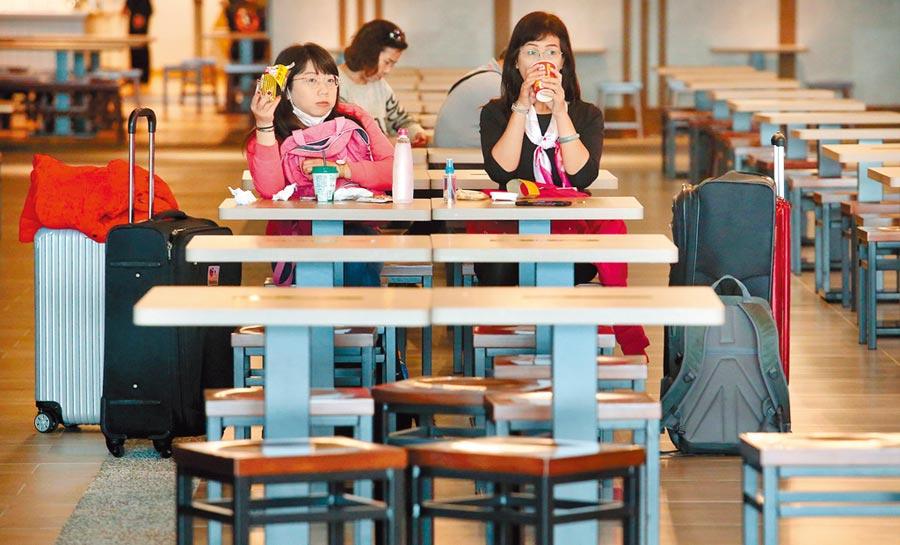 新冠肺炎嚴重影響航空業及旅遊業,桃園機場12日出入境人數跌至6萬多人,約為平日的5成,在二航廈的美食街內,只有旅客三三兩兩地在用餐。(范揚光攝)