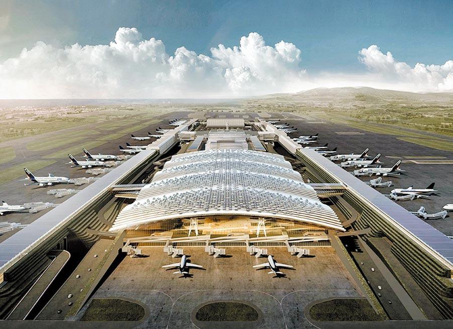 桃機公司提出第三航廈變更設計報告,預估完工期要延後1年,且增加近百億預算。但交通部認為桃機簡化設計卻要增加大筆預算,打了回票。圖為第三航廈示意圖。(桃機公司提供)