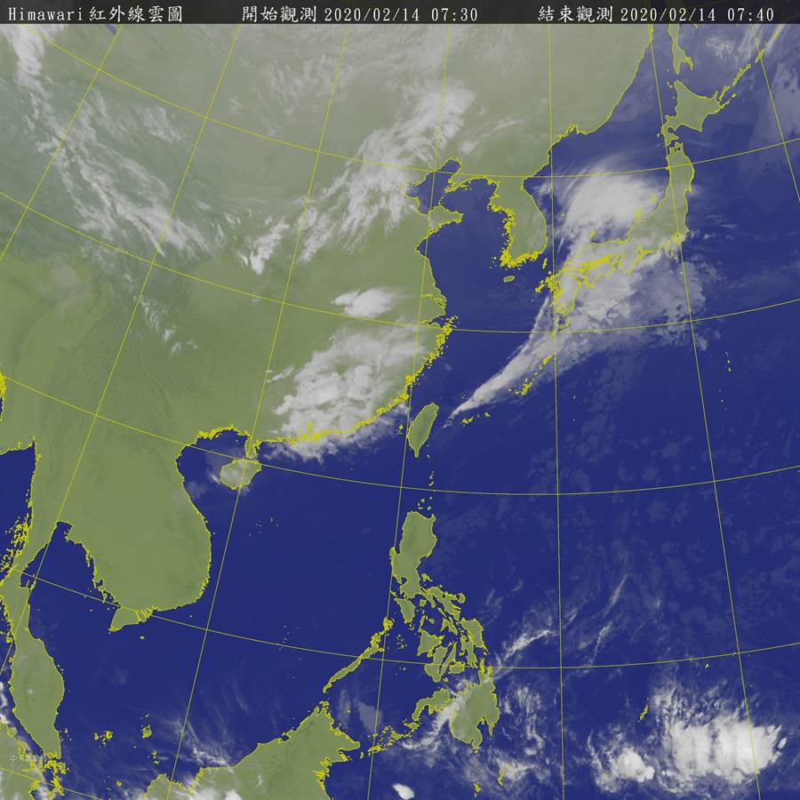 氣象局14日07:30最新雲圖,預估另一波鋒面周日將大舉南侵。(圖擷自氣象局)
