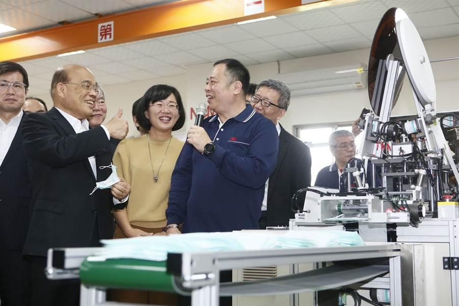 蘇貞昌視察口罩工廠。