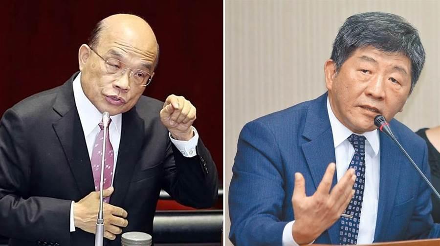衛服部長陳時中(左)、行政院長蘇貞昌(右)。(圖/合成圖,本報資料照)