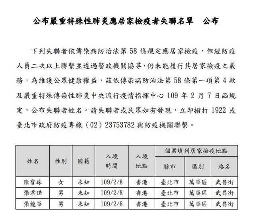 失聯的3名港人下午已在西門町被警方尋獲。(陳鴻偉翻攝)