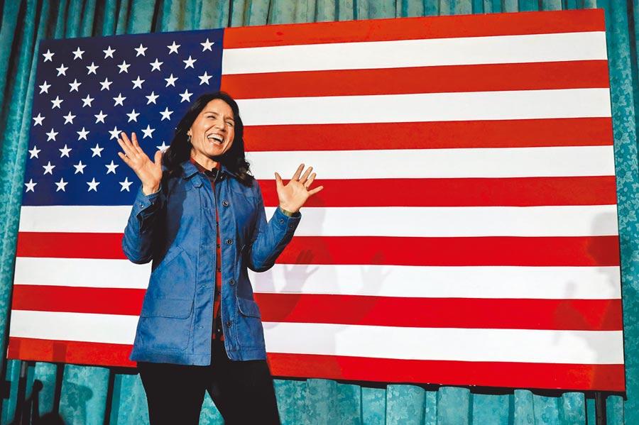 民主黨初選非白人參選人目前只剩下來自夏威夷的聯邦眾議員加巴德(Tulsi Gabbard)。(路透)
