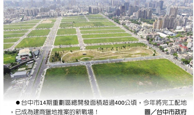 台中市14期重劃區總開發面積超過400公頃,今年將完工配地,已成為建商獵地推案的新戰場!圖/台中市政府