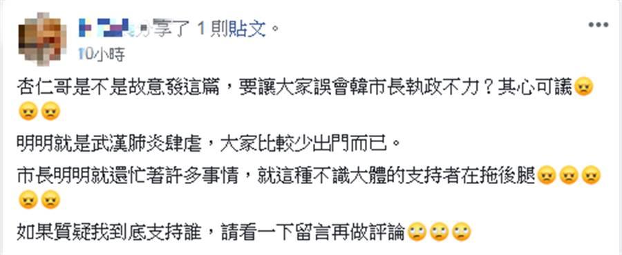 網友留言。(圖片翻拍自韓國瑜市長後援會臉書)