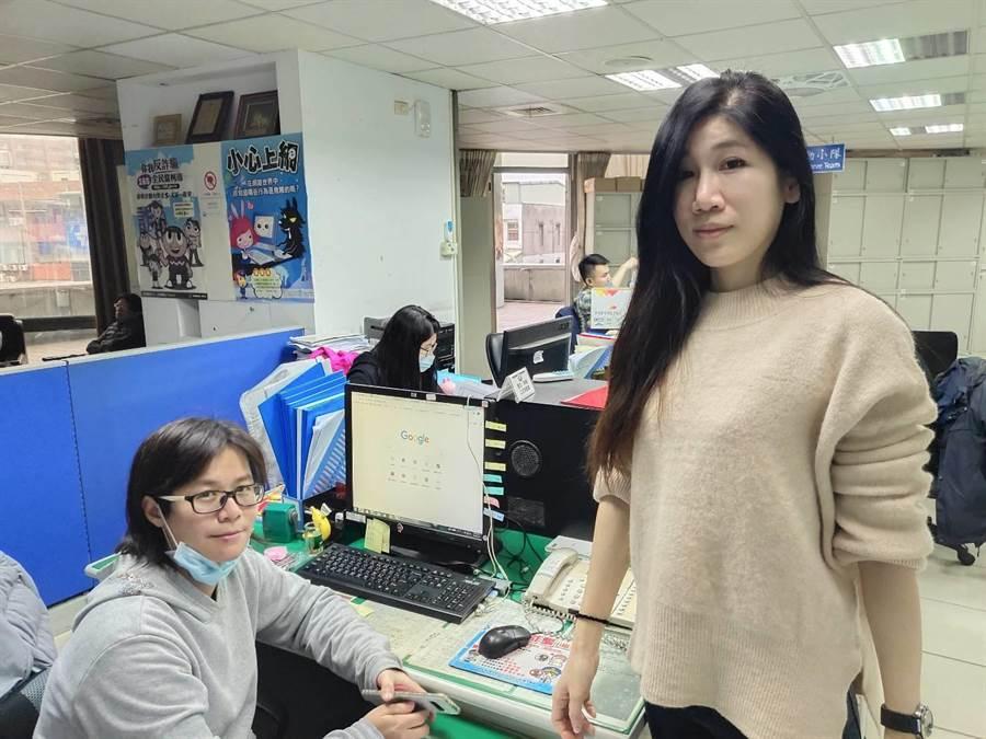蘆竹警分局巡官傅宇菲(左)、林于婷(右)成功阻止詐騙。(警方提供/賴佑維桃園傳真)