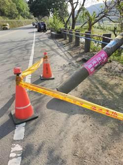台13線三義段2路燈倒塌  公所加放三角錐警示