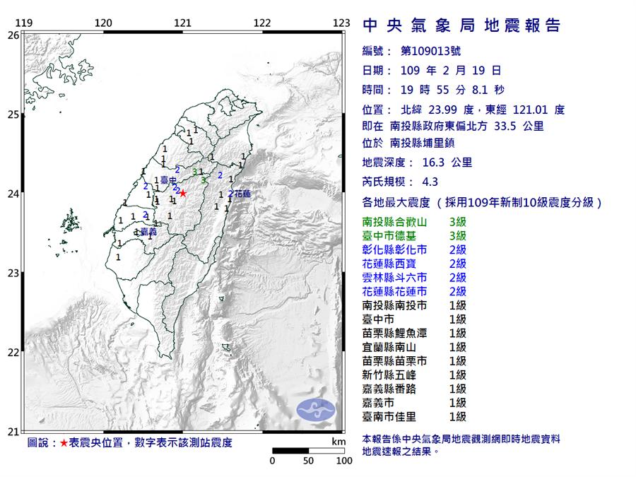 地牛翻身!南投19:55發生規模4.3地震 最大震度3級。(圖/氣象局)