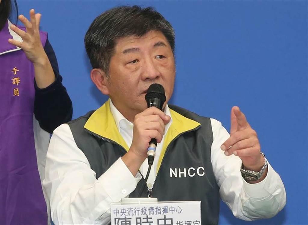中央疫情流行指揮中心指揮官陳時中舉行記者會。(趙雙傑攝)