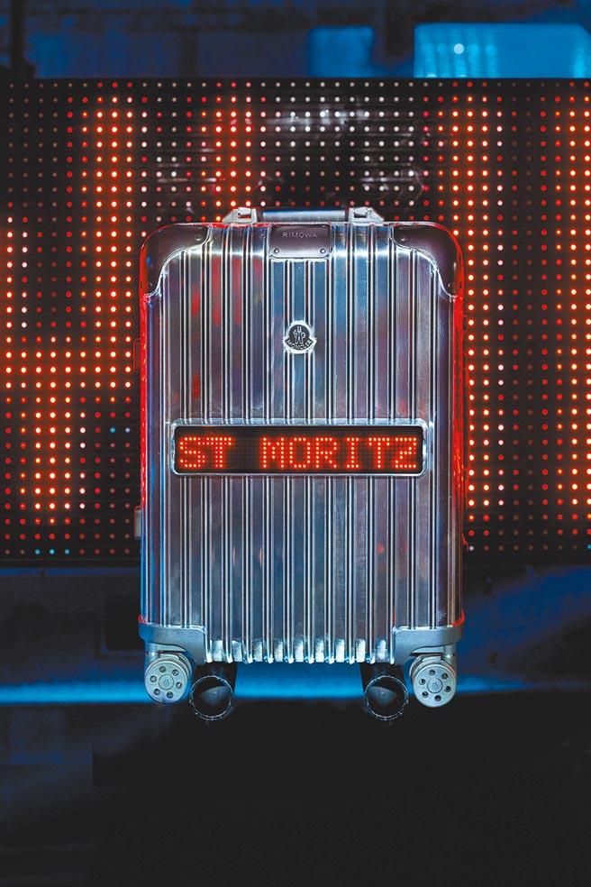 Moncler攜手RIMOWA打造LED屏幕行李箱。(Moncler提供)