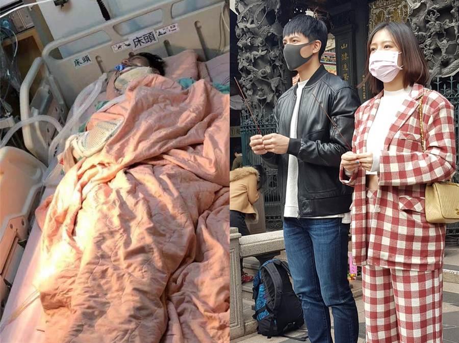 賴東賢去年九月車禍重傷住加護病房,經紀人劉品言在他復原後帶他一起拜拜祈福。(圖/鴻言娛樂提供)