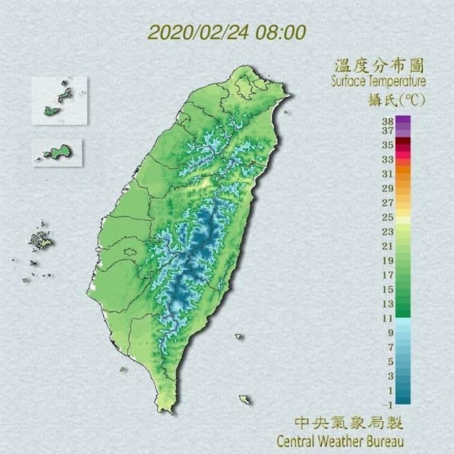 今天台灣附近風場轉為東南風,帶來暖空氣,各地氣溫較昨天升高。(翻攝自中央氣象局/林良齊台北傳真)