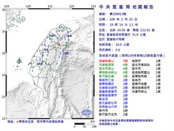 19:14宜蘭大同發生規模5地震 最大震度5弱