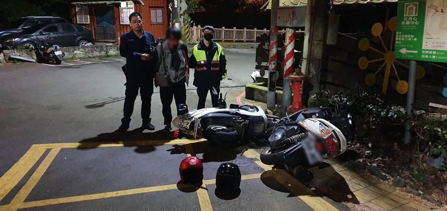 吳嫌撞倒警車後企圖逃逸,但仍遭逮捕。(翻攝照片╱吳亮賢新北傳真)