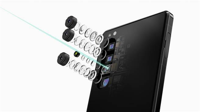 Sony Xperia 1 II搭載全新三鏡頭相機,結合Sony Alpha技術與ZEISS光學專業,打造3D iToF影像感測。(提供/黃慧雯台北傳真)