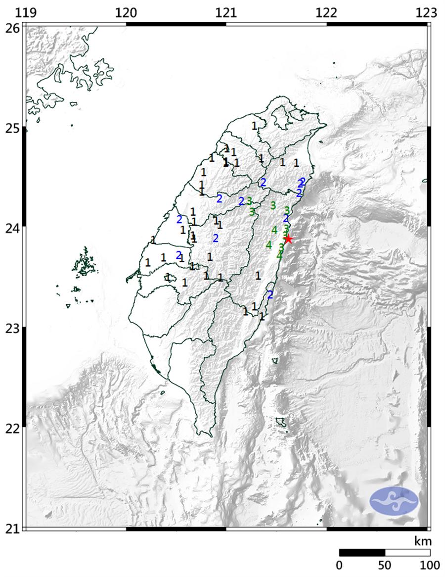 13:34花蓮近海規模4.7有感地震,最大震度4級。(圖擷自氣象局)