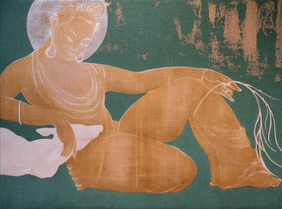 曾亞琪「寫佛」多以畫布色彩作為佛的形體空間。(多納藝術提供)