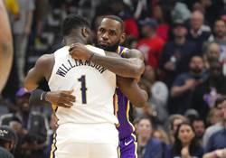 NBA》威廉森超勇猛 詹皇賽後抱抱
