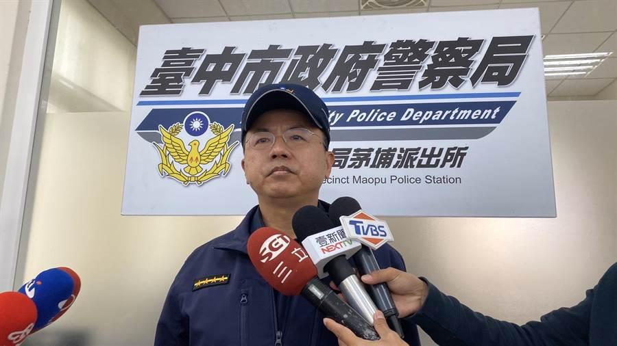 東勢分局芧埔所所長劉國富說明工安意外發生情形。(王文吉攝)
