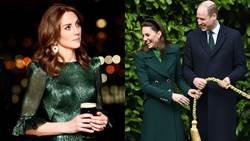 凱特王妃時尚外交辣翻!綠洋裝「胸型纖腰」看光光