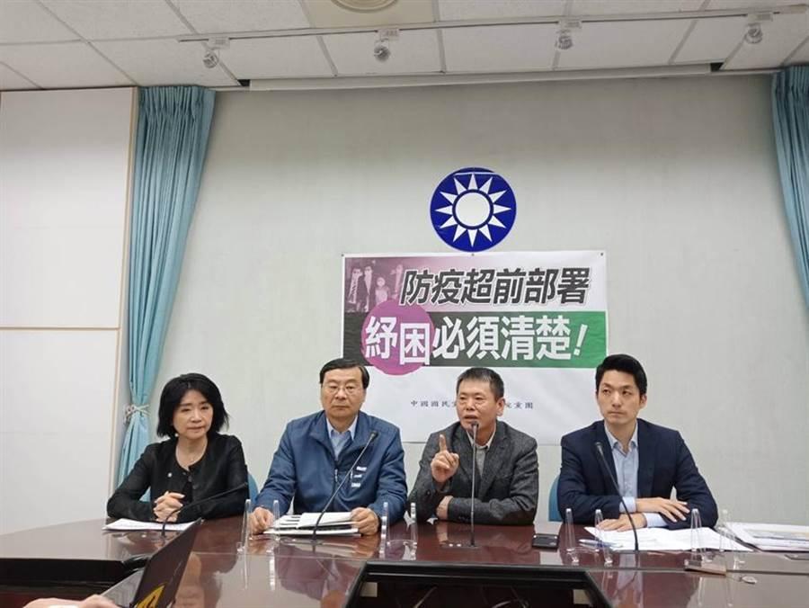 國民黨團今(5)上午召開「防疫超前部署,紓困必須清楚!」記者會情況。(圖/國民黨團提供)