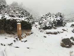 雪山深夜狂風暴雪 積雪約達10公分