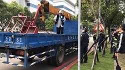 不滿徵收 科技公司老闆抬棺至張忠謀大樓抗議