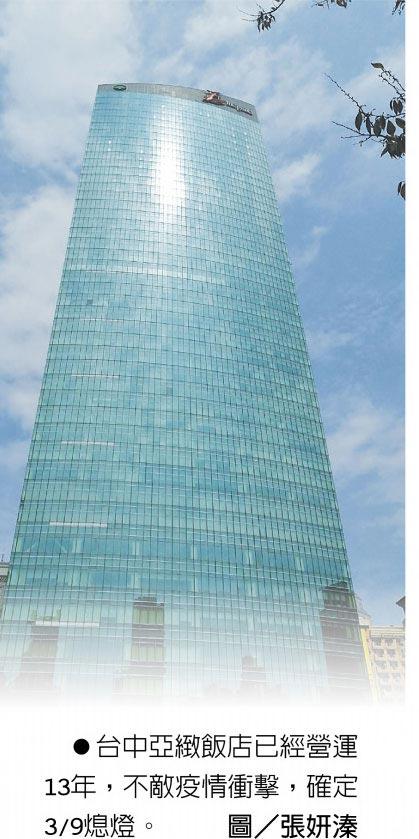 台中亞緻飯店已經營運13年,不敵疫情衝擊,確定3/9熄燈。圖/張妍溱