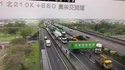 彰化國道1號北上貨櫃車翻車 回堵近8公里