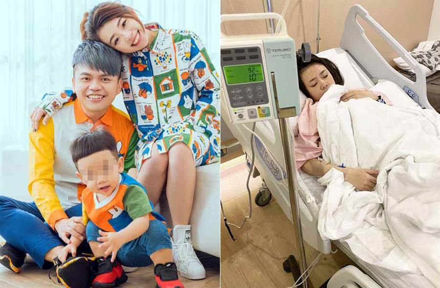 蔡阿嘎孕妻二伯遇襲住院安胎,如今終於出院,得以回家抱抱大兒子蔡桃貴。(取材自嘎嫂二伯臉書)