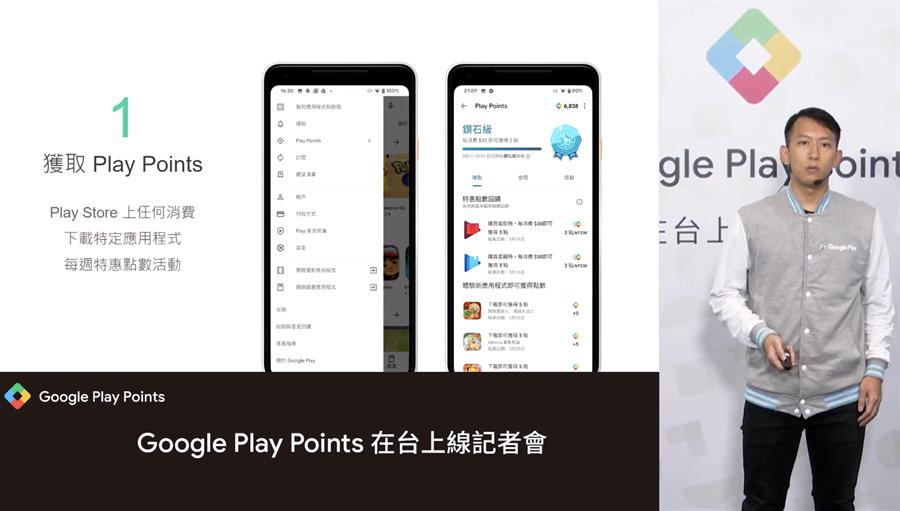 Google Play Points 點數計畫透過 Play Store 即可加入。(摘自記者會直播畫面)