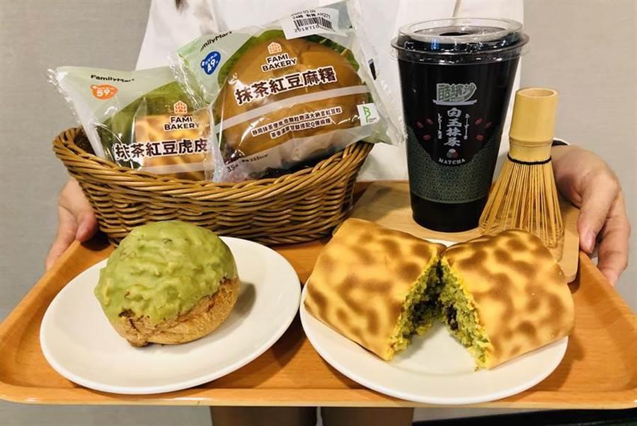 全家宣布抹茶季開跑,共推出超過50款抹茶系列新品,其中,包括5款自有品牌飲品、酷繽沙跟泡芙、麵包、蛋糕捲。(圖/全家提供)