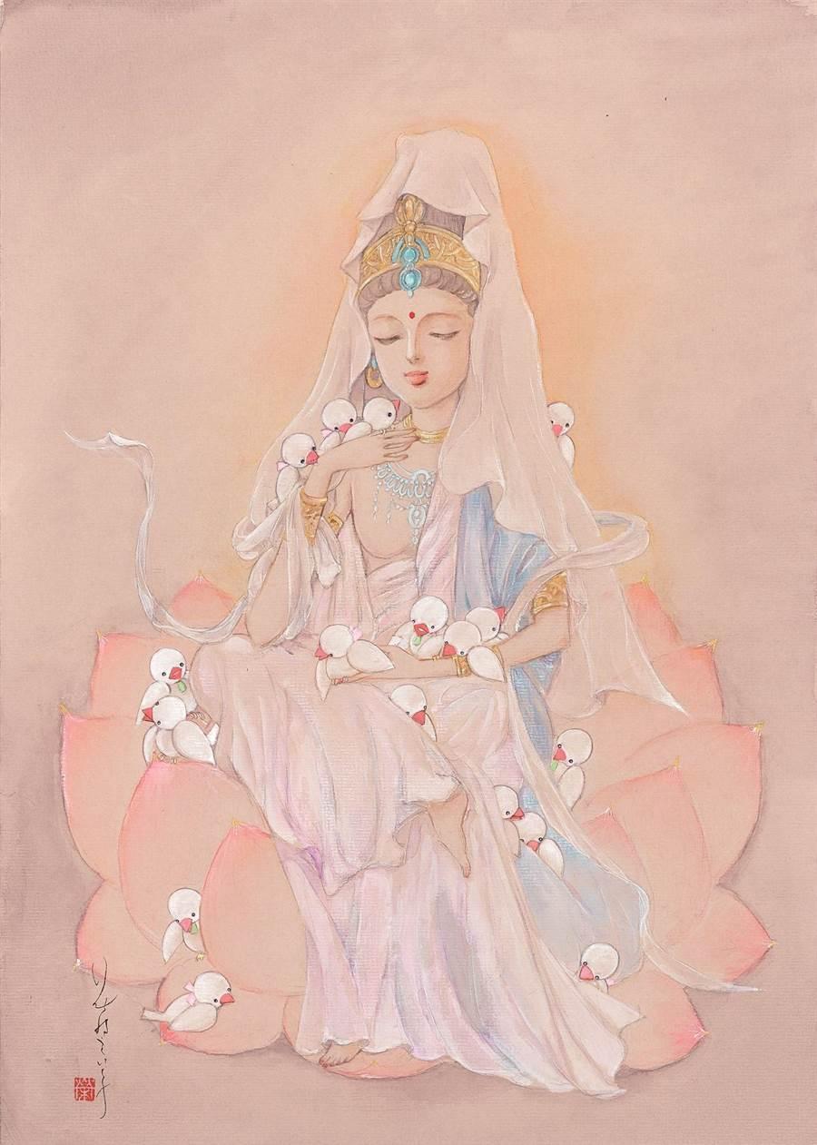 日本漫畫家花村榮子筆下的〈白衣觀音〉,讓人沐浴在觀音慈悲的光芒中,十分療癒。(世界宗教博物館提供)