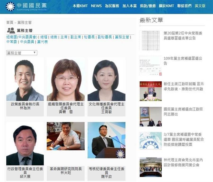 國民黨官網上的考紀會主委仍是魏平政。(摘自國民黨官網)