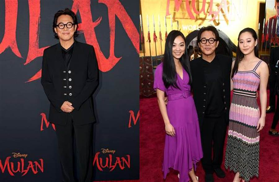 李連杰帶一對女兒出席《花木蘭》首映會,父女互動相當溫馨。(圖/達志影像)