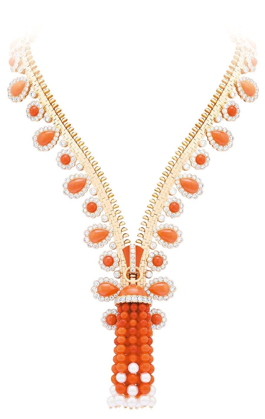 梵克雅寶年度新款Zip Antique Orient珊瑚珍珠項鍊。(Van Cleef & Arpels提供)