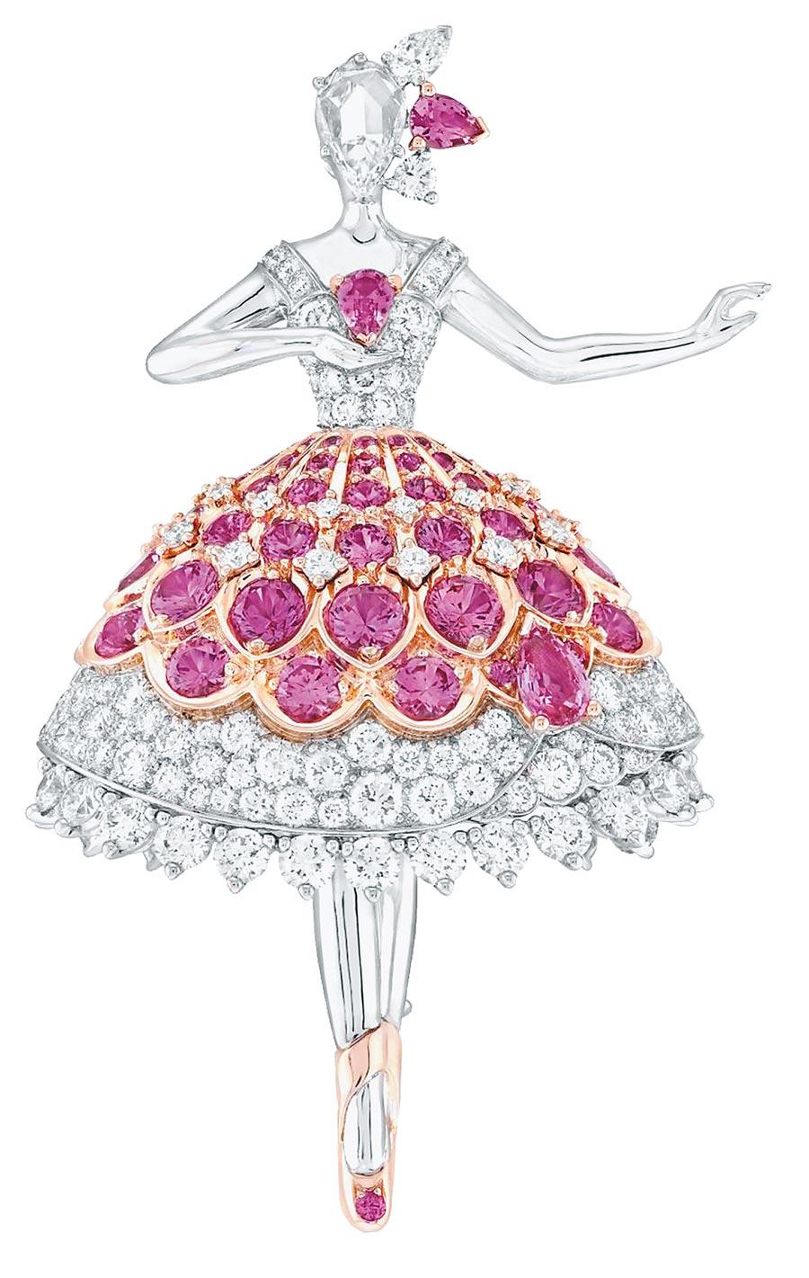 梵克雅寶年度新款Pink finch芭蕾舞伶胸針。(Van Cleef & Arpels提供)