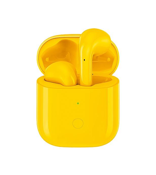 realme Buds Air真無線藍牙耳機,共推出白、黃與黑3色,定價1799元。(realme提供)