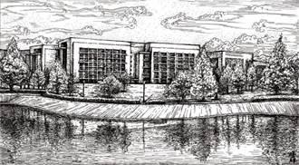 黃騰輝繪製「國衛院全景圖」1元授權國衛院公開使用