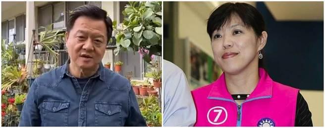 前台北縣長周錫瑋(左圖)透露,唐慧琳(右圖)曾跟他通過電話透露說,她有個腫瘤。(周錫瑋臉書直播、本報資料照片)