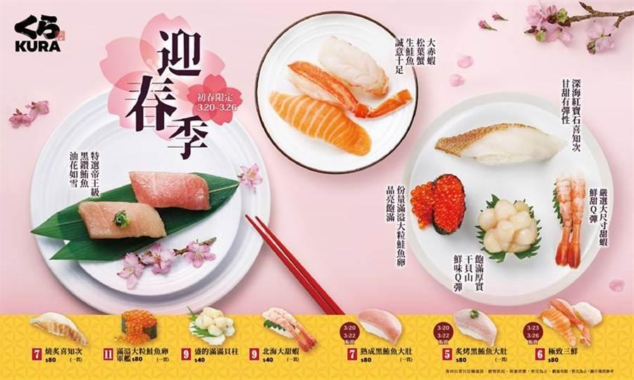 (搶攻春食商機,藏壽司首次推出「迎春季」,多款頂級奢華壽司限期開賣。圖/藏壽司提供)